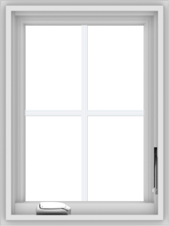 WDMA 18x24 (17.5 x 23.5 inch) White Vinyl uPVC Crank out Casement Window with Colonial Grids