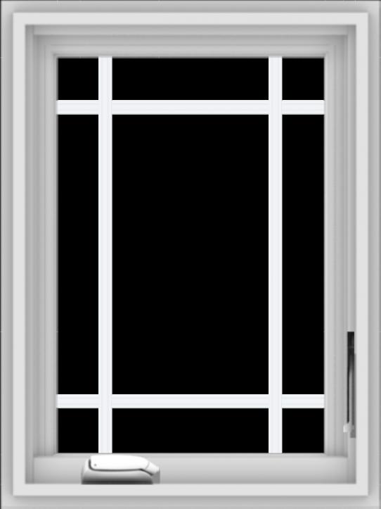 WDMA 18x24 (17.5 x 23.5 inch) White Vinyl uPVC Crank out Casement Window with Prairie Grilles