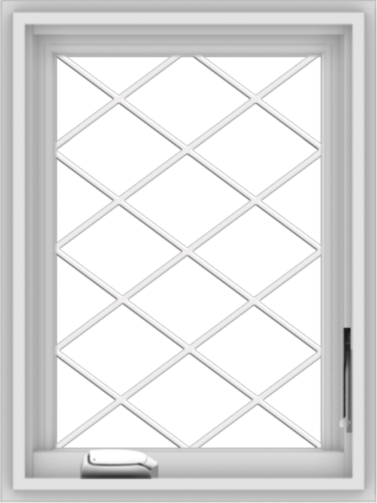 WDMA 18x24 (17.5 x 23.5 inch) White Vinyl uPVC Crank out Casement Window without Grids with Diamond Grills