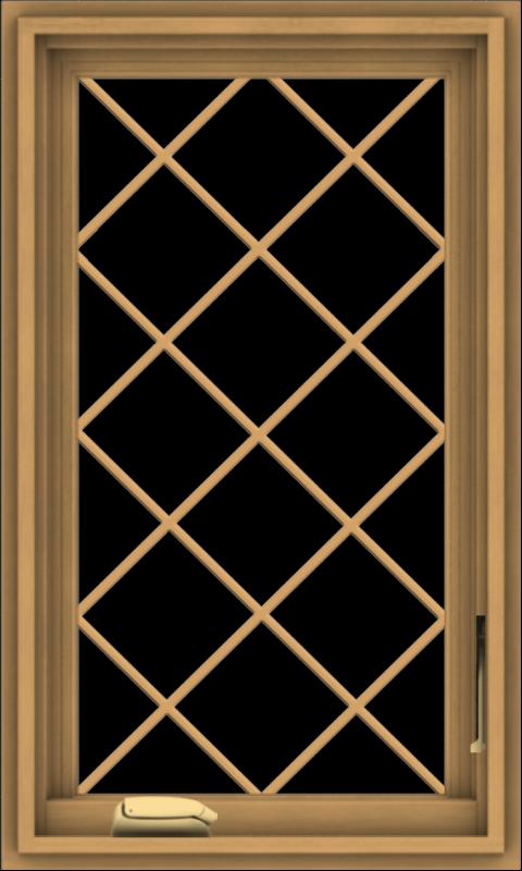 WDMA 18x30 (17.5 x 29.5 inch) Pine Wood Dark Grey Aluminum Crank out Casement Window  with Diamond Grills