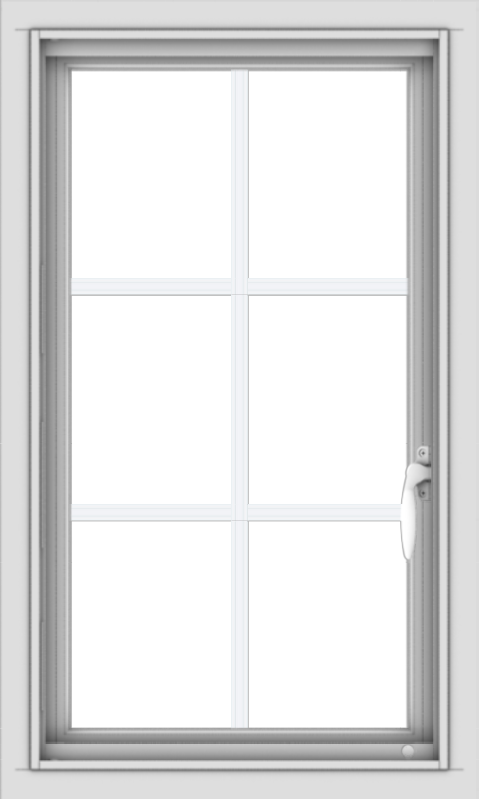 WDMA 18x30 (17.5 x 29.5 inch) Vinyl uPVC White Push out Casement Window with Colonial Grids