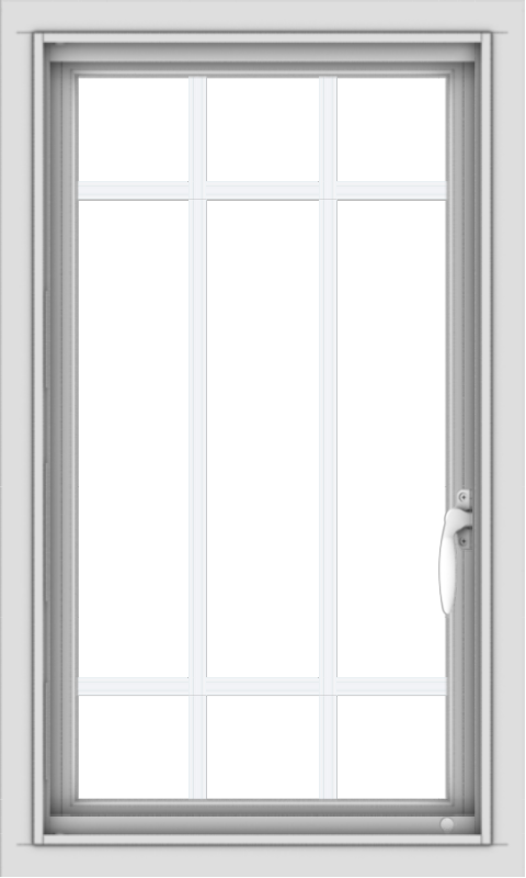 WDMA 18x30 (17.5 x 29.5 inch) Vinyl uPVC White Push out Casement Window with Prairie Grilles