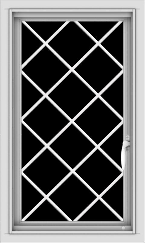 WDMA 18x30 (17.5 x 29.5 inch) Vinyl uPVC White Push out Casement Window  with Diamond Grills