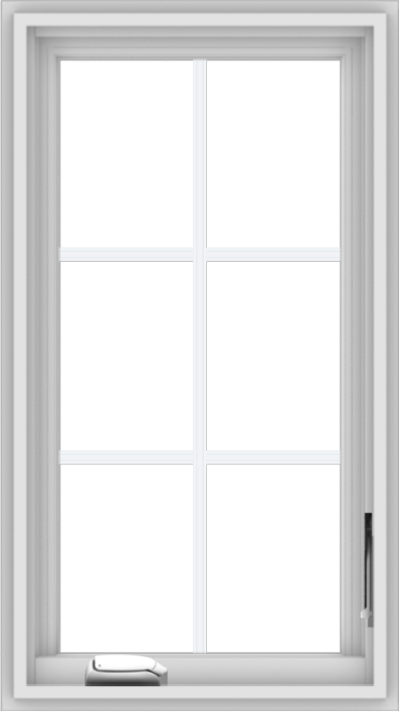 WDMA 18x32 (17.5 x 31.5 inch) White Vinyl uPVC Crank out Casement Window with Colonial Grids
