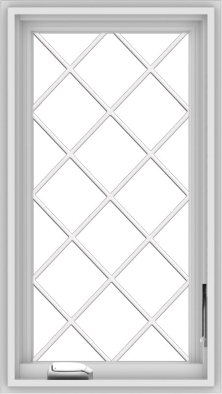 WDMA 18x32 (17.5 x 31.5 inch) White Vinyl uPVC Crank out Casement Window  with Diamond Grills
