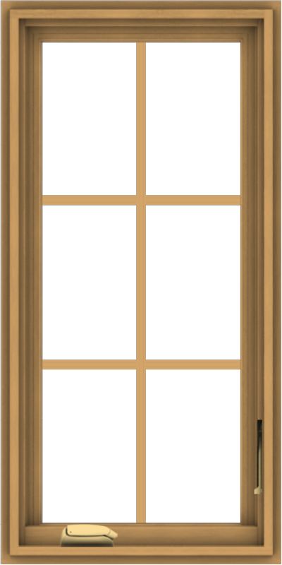 WDMA 18x36 (17.5 x 35.5 inch) Pine Wood Dark Grey Aluminum Crank out Casement Window with Colonial Grids