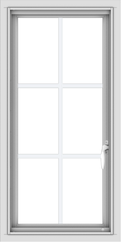WDMA 18x36 (17.5 x 35.5 inch) Vinyl uPVC White Push out Casement Window with Colonial Grids