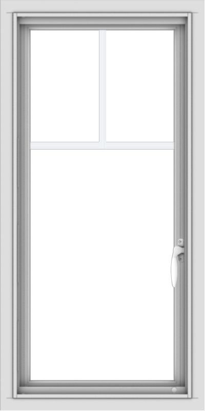 WDMA 18x36 (17.5 x 35.5 inch) Vinyl uPVC White Push out Casement Window with Fractional Grilles