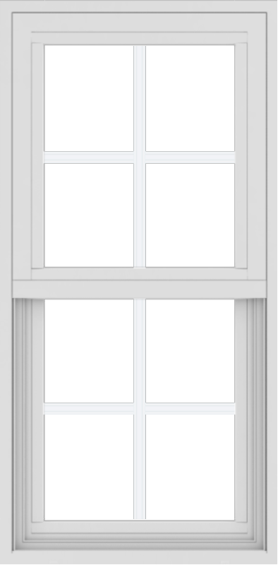WDMA 18x36 (17.5 x 35.5 inch) Vinyl uPVC White Single Hung Double Hung Window with Colonial Grids Exterior