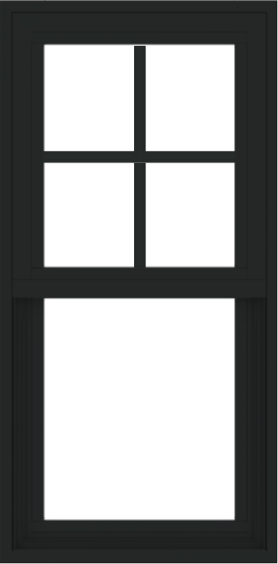 WDMA 18x36 (17.5 x 35.5 inch) Vinyl uPVC Black Single Hung Double Hung Window with Prairie Grids Interior