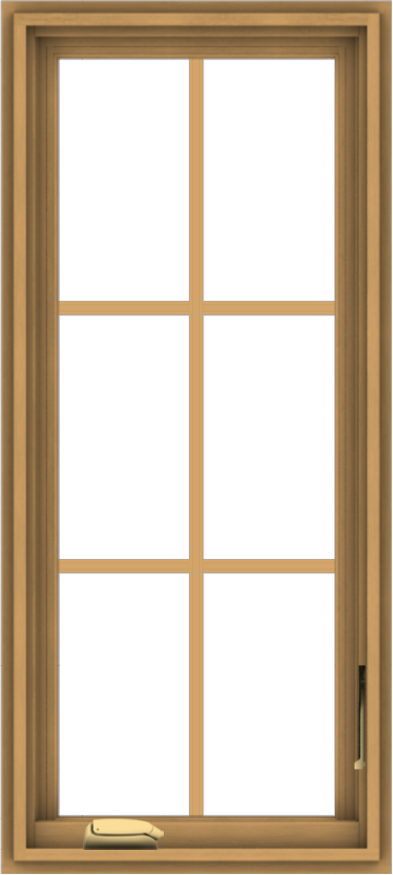 WDMA 18x40 (17.5 x 39.5 inch) Pine Wood Dark Grey Aluminum Crank out Casement Window with Colonial Grids
