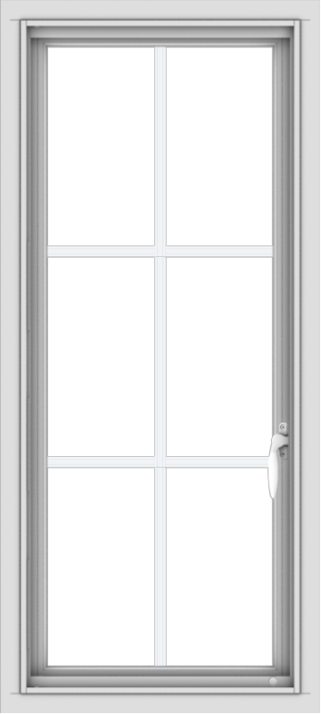 WDMA 18x40 (17.5 x 39.5 inch) Vinyl uPVC White Push out Casement Window with Colonial Grids
