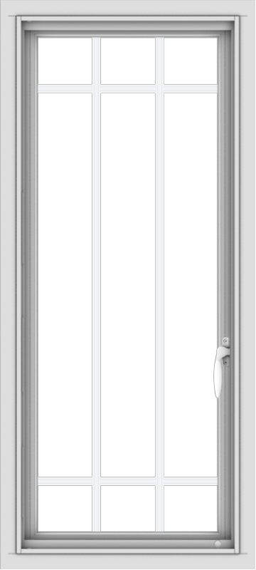 WDMA 18x40 (17.5 x 39.5 inch) Vinyl uPVC White Push out Casement Window with Prairie Grilles