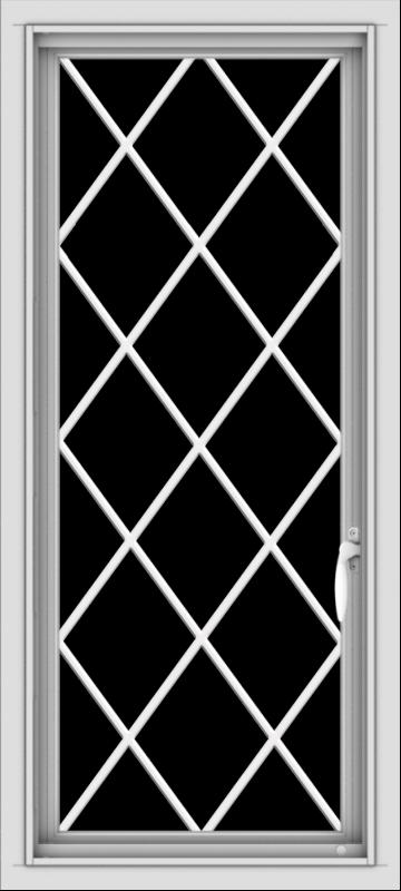 WDMA 18x40 (17.5 x 39.5 inch) Vinyl uPVC White Push out Casement Window  with Diamond Grills