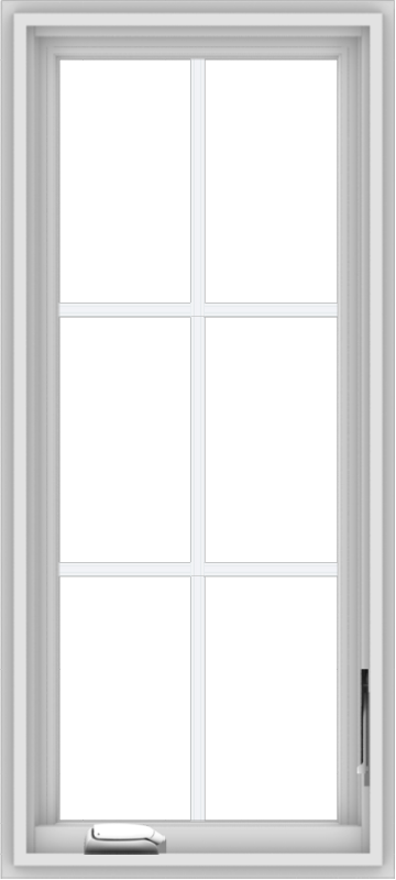 WDMA 18x40 (17.5 x 39.5 inch) White Vinyl uPVC Crank out Casement Window with Colonial Grids
