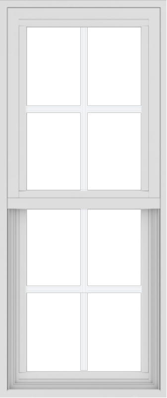 WDMA 18x42 (17.5 x 41.5 inch) Vinyl uPVC White Single Hung Double Hung Window with Colonial Grids Exterior