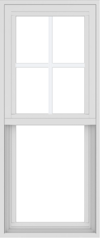 WDMA 18x42 (17.5 x 41.5 inch) Vinyl uPVC White Single Hung Double Hung Window with Top Colonial Grids Exterior