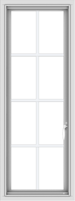 WDMA 18x48 (17.5 x 47.5 inch) uPVC Vinyl White push out Casement Window with Colonial Grids
