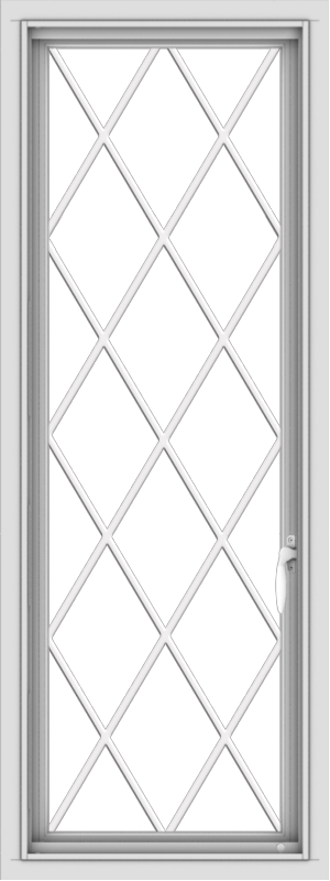 WDMA 18x48 (17.5 x 47.5 inch) uPVC Vinyl White push out Casement Window without Grids with Diamond Grills