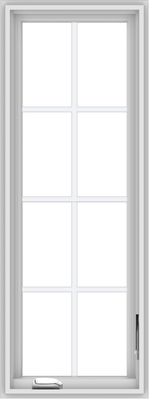 WDMA 18x48 (17.5 x 47.5 inch) White Vinyl uPVC Crank out Casement Window with Colonial Grids