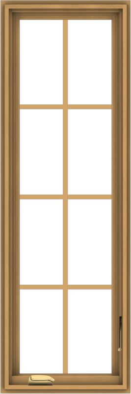 WDMA 18x54 (17.5 x 53.5 inch) Pine Wood Dark Grey Aluminum Crank out Casement Window with Colonial Grids