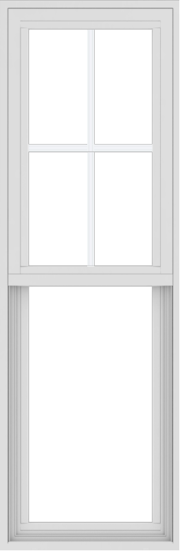 WDMA 18x54 (17.5 x 53.5 inch) Vinyl uPVC White Single Hung Double Hung Window with Top Colonial Grids Exterior