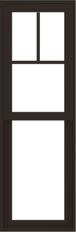 WDMA 18x54 (17.5 x 53.5 inch) Vinyl uPVC Dark Brown Single Hung Double Hung Window with Fractional Grids Interior