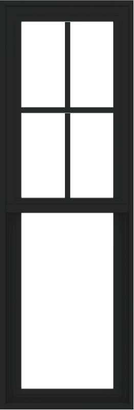 WDMA 18x54 (17.5 x 53.5 inch) Vinyl uPVC Black Single Hung Double Hung Window with Prairie Grids Interior