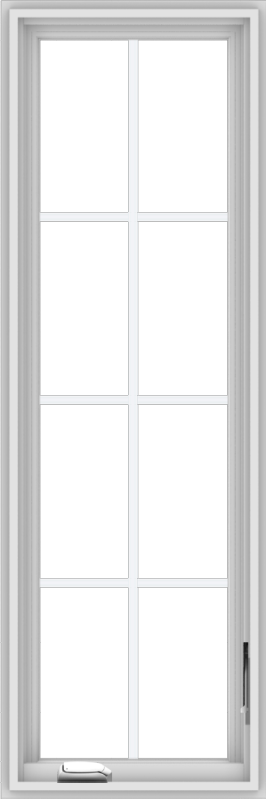 WDMA 18x54 (17.5 x 53.5 inch) White Vinyl uPVC Crank out Casement Window with Colonial Grids