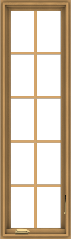 WDMA 18x60 (17.5 x 59.5 inch) Pine Wood Dark Grey Aluminum Crank out Casement Window with Colonial Grids