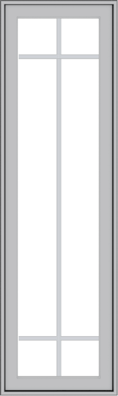 WDMA 18x60 (17.5 x 59.5 inch) Pine Wood Light Grey Aluminum Push out Casement Window with Prairie Grilles