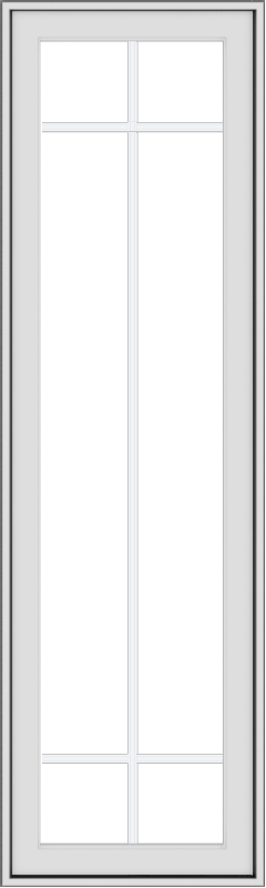 WDMA 18x60 (17.5 x 59.5 inch) White Vinyl uPVC Push out Casement Window with Prairie Grilles