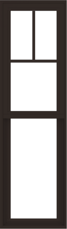 WDMA 18x60 (17.5 x 59.5 inch) Vinyl uPVC Dark Brown Single Hung Double Hung Window with Fractional Grids Interior