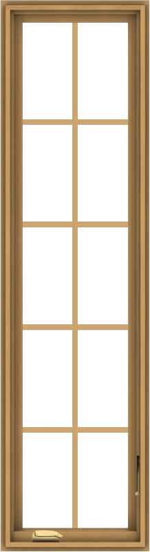 WDMA 18x66 (17.5 x 65.5 inch) Pine Wood Dark Grey Aluminum Crank out Casement Window with Colonial Grids
