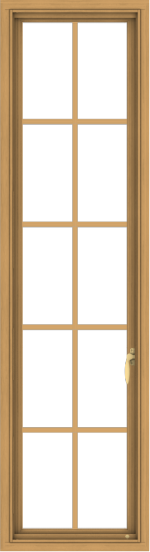 WDMA 18x66 (17.5 x 65.5 inch) Pine Wood Light Grey Aluminum Push out Casement Window with Colonial Grids
