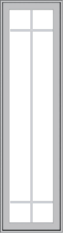 WDMA 18x66 (17.5 x 65.5 inch) Pine Wood Light Grey Aluminum Push out Casement Window with Prairie Grilles