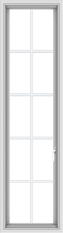WDMA 18x66 (17.5 x 65.5 inch) White Vinyl uPVC Push out Casement Window with Colonial Grids