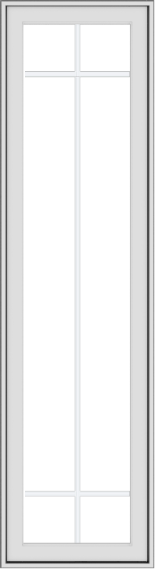 WDMA 18x66 (17.5 x 65.5 inch) White Vinyl uPVC Push out Casement Window with Prairie Grilles