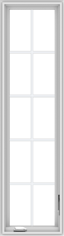 WDMA 18x66 (17.5 x 65.5 inch) White Vinyl uPVC Crank out Casement Window with Colonial Grids