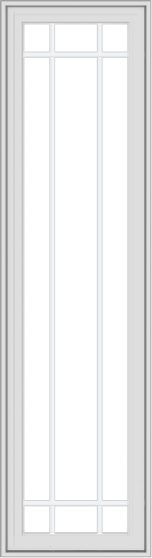 WDMA 18x66 (17.5 x 65.5 inch) White Vinyl uPVC Crank out Casement Window with Prairie Grilles