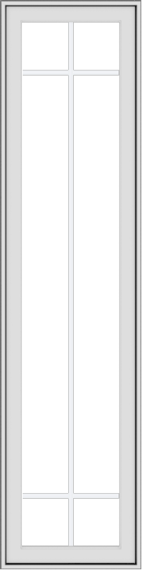 WDMA 18x72 (17.5 x 71.5 inch) White Vinyl uPVC Push out Casement Window with Prairie Grilles