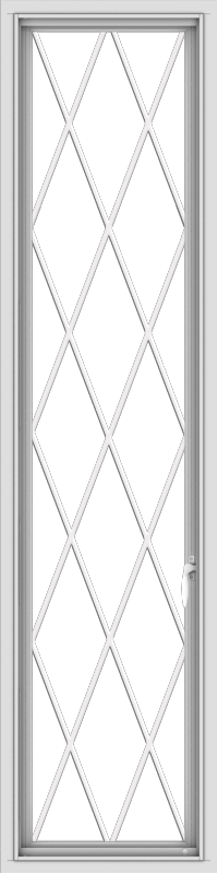 WDMA 18x72 (17.5 x 71.5 inch) White Vinyl uPVC Push out Casement Window without Grids with Diamond Grills