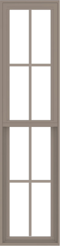 WDMA 18x72 (17.5 x 71.5 inch) Vinyl uPVC Brown Single Hung Double Hung Window with Colonial Grids Exterior