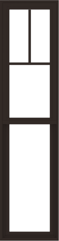 WDMA 18x72 (17.5 x 71.5 inch) Vinyl uPVC Dark Brown Single Hung Double Hung Window with Fractional Grids Interior