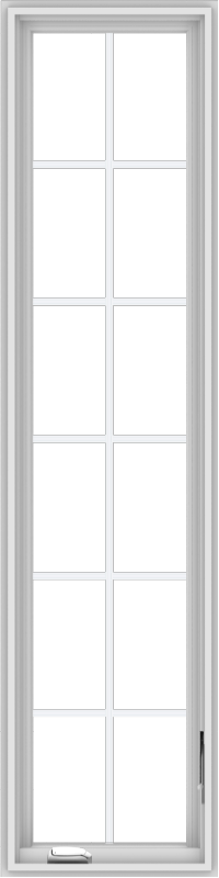 WDMA 18x72 (17.5 x 71.5 inch) White Vinyl uPVC Crank out Casement Window with Colonial Grids