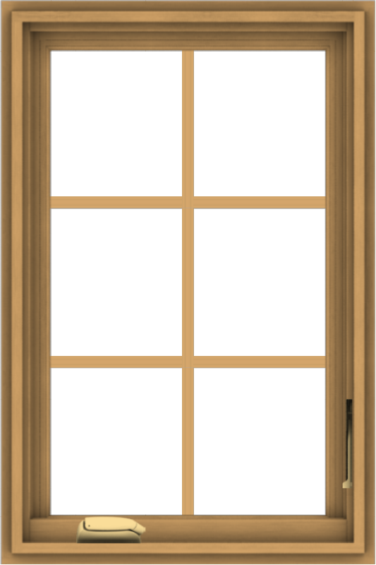 WDMA 20x30 (19.5 x 29.5 inch) Pine Wood Dark Grey Aluminum Crank out Casement Window with Colonial Grids