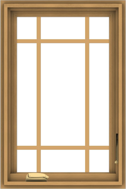 WDMA 20x30 (19.5 x 29.5 inch) Pine Wood Dark Grey Aluminum Crank out Casement Window with Prairie Grilles