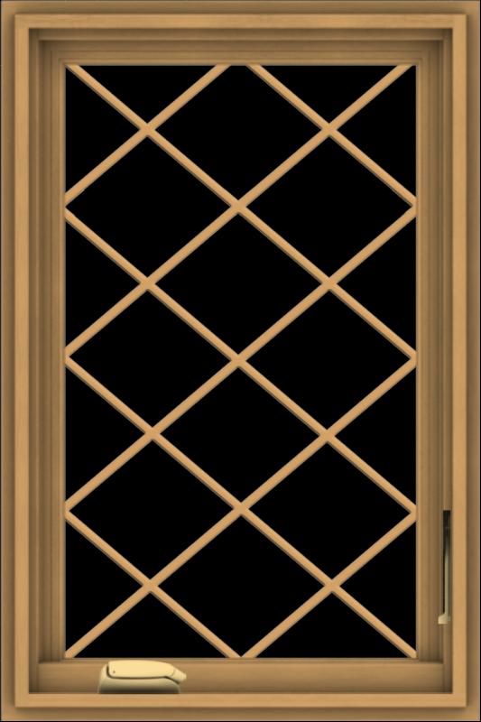 WDMA 20x30 (19.5 x 29.5 inch) Pine Wood Dark Grey Aluminum Crank out Casement Window  with Diamond Grills