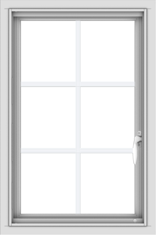 WDMA 20x30 (19.5 x 29.5 inch) Vinyl uPVC White Push out Casement Window with Colonial Grids