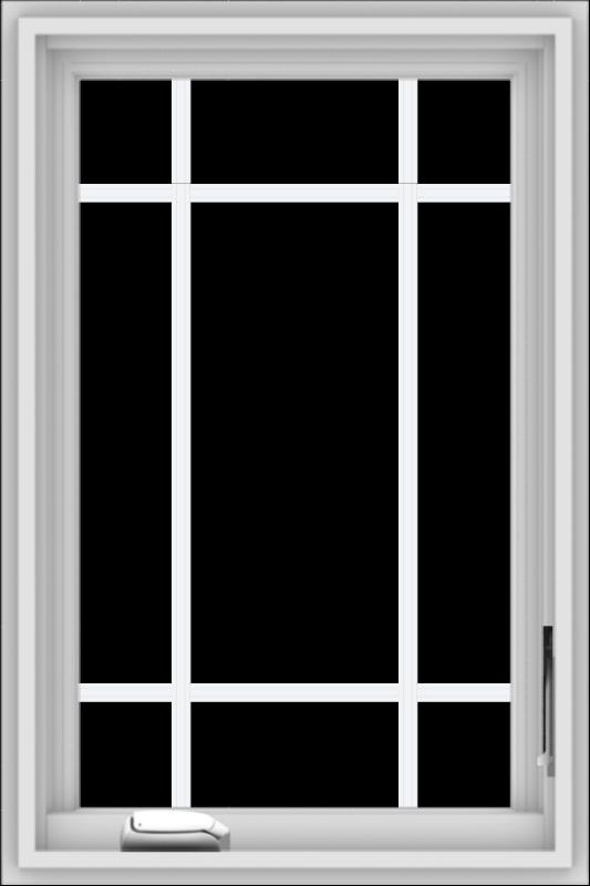 WDMA 20x30 (19.5 x 29.5 inch) White Vinyl uPVC Crank out Casement Window with Prairie Grilles